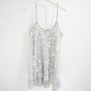 Free People Lace & Stud Neckline Tank Top